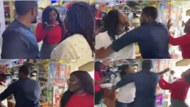 Side chick creates scene at a supermarket after seeing her man with wife