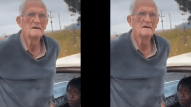 Old Man Caught chewing young Ashawo In The Middle Of The Road