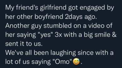 Twitter user narrates how his friend reacted to his girlfriend getting engaged to another man