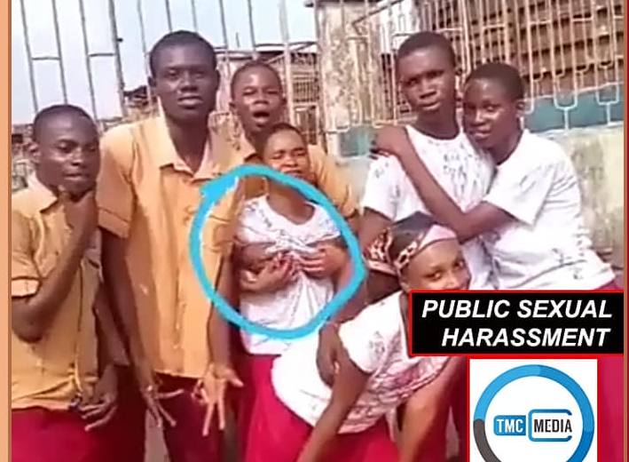 Secondary school student grabs his female classmate's boobs as they celebrate end of exams