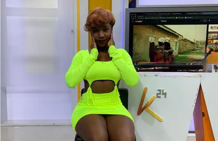 See how this lady went for an interview on K24 TV dressed – Was her dad watching the show? SMH!!(PHOTO).
