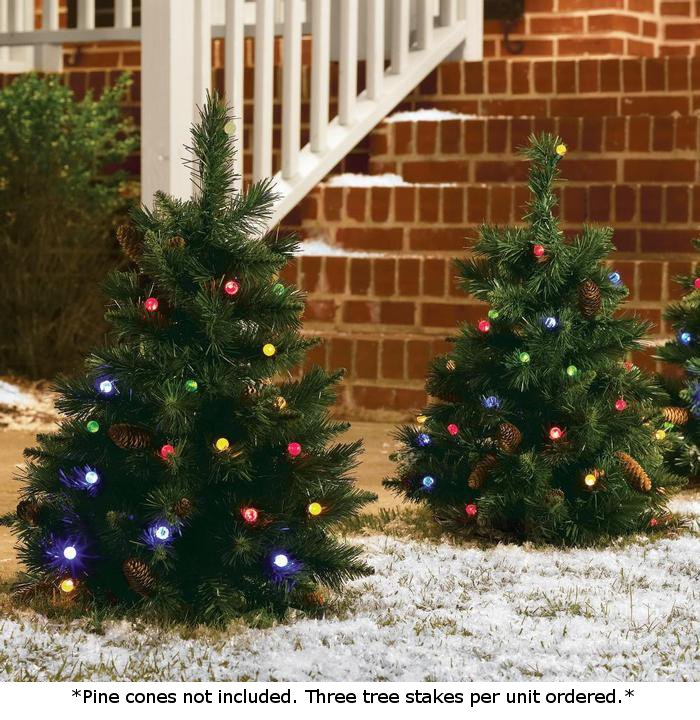 Set Of 3 Cordless Pre Lit LED 24 Inch Trees Battery