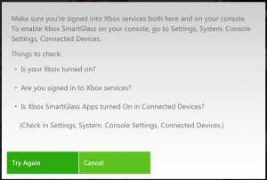 error message showing the XBox needs to be on