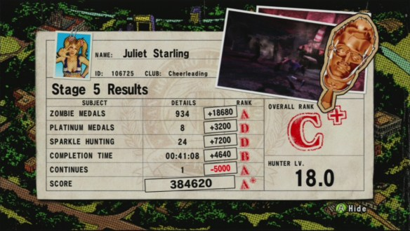 The end-level score screen in Lollipop Chainsaw