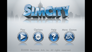 Title screen for SimCity on iOS