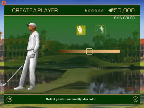 Gender and skin screen in Tiger Woods PGA Tour 12 for iOS