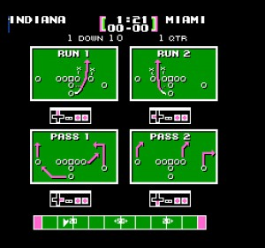 Play selection screen in Tecmo Bowl for the NES