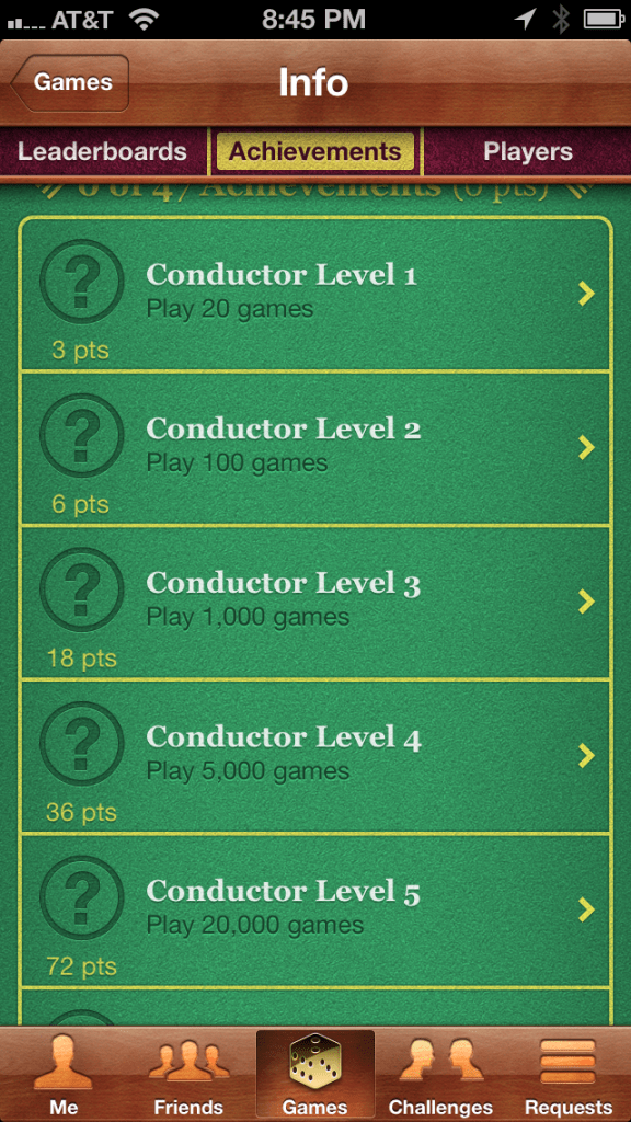 The achievement screen in Ticket to Ride
