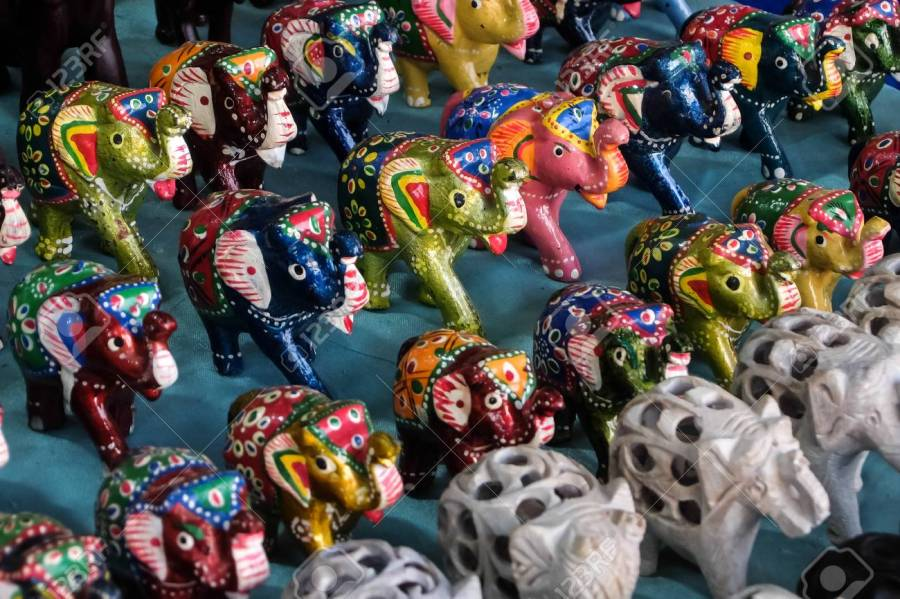 Indian handicrafts and handmade artefacts in saturday night market