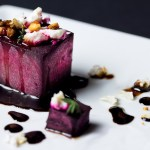 Roasted beets with feta cheese and balsamic syrup