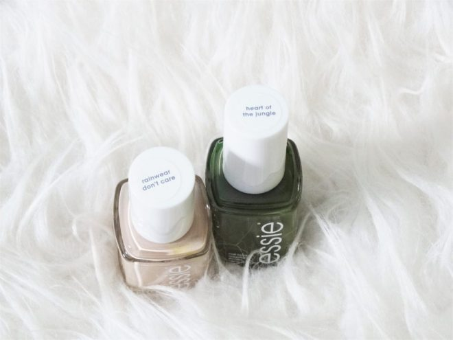 essie nagellak rainwear don't care en heart of the jungle