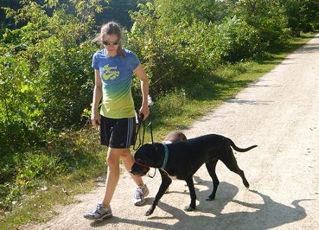Woman walking two dogs