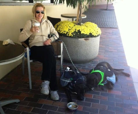 Barbara with Missy & Buzz Having A Coffee Break