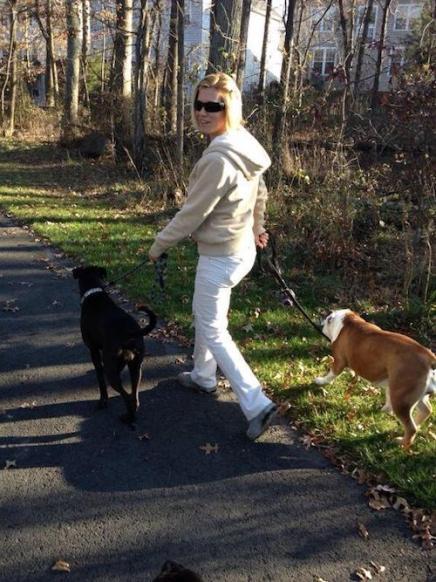 Walking Missy & Bulldog Ada