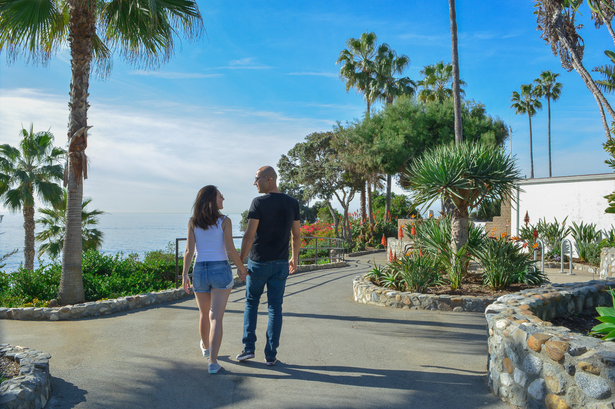 Walking through Heisler Park in Laguna Beach, California