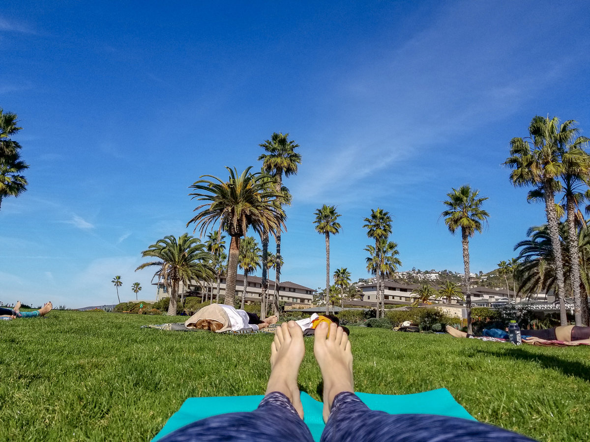 Outdoor Yoga class in Laguna Beach