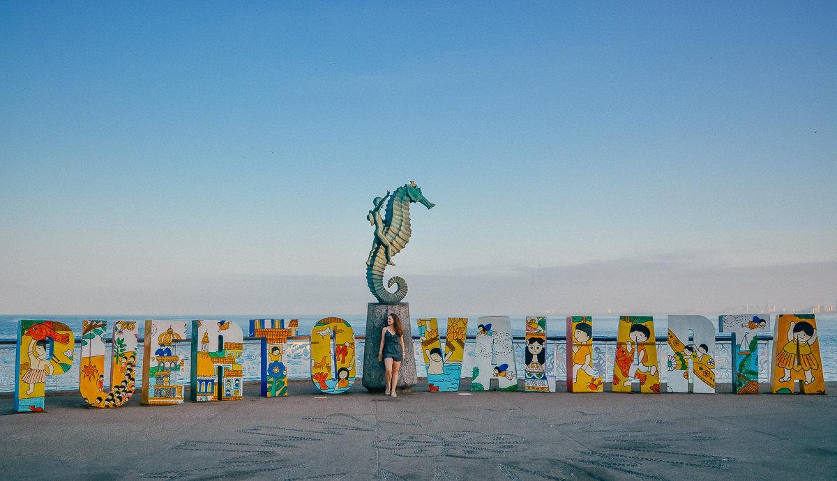 Visit Puerto Vallarta sign and seahorse on the Malecon