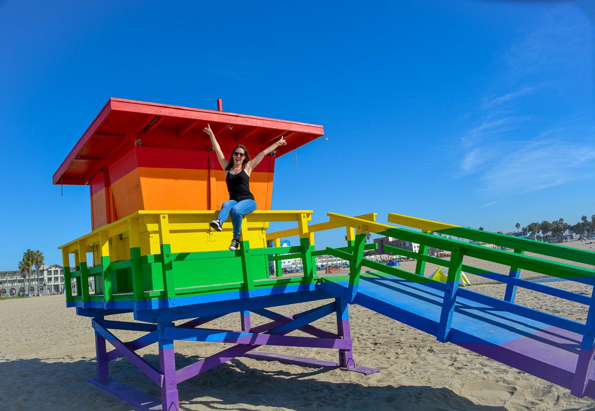 The pride tower in Venice Beach, California