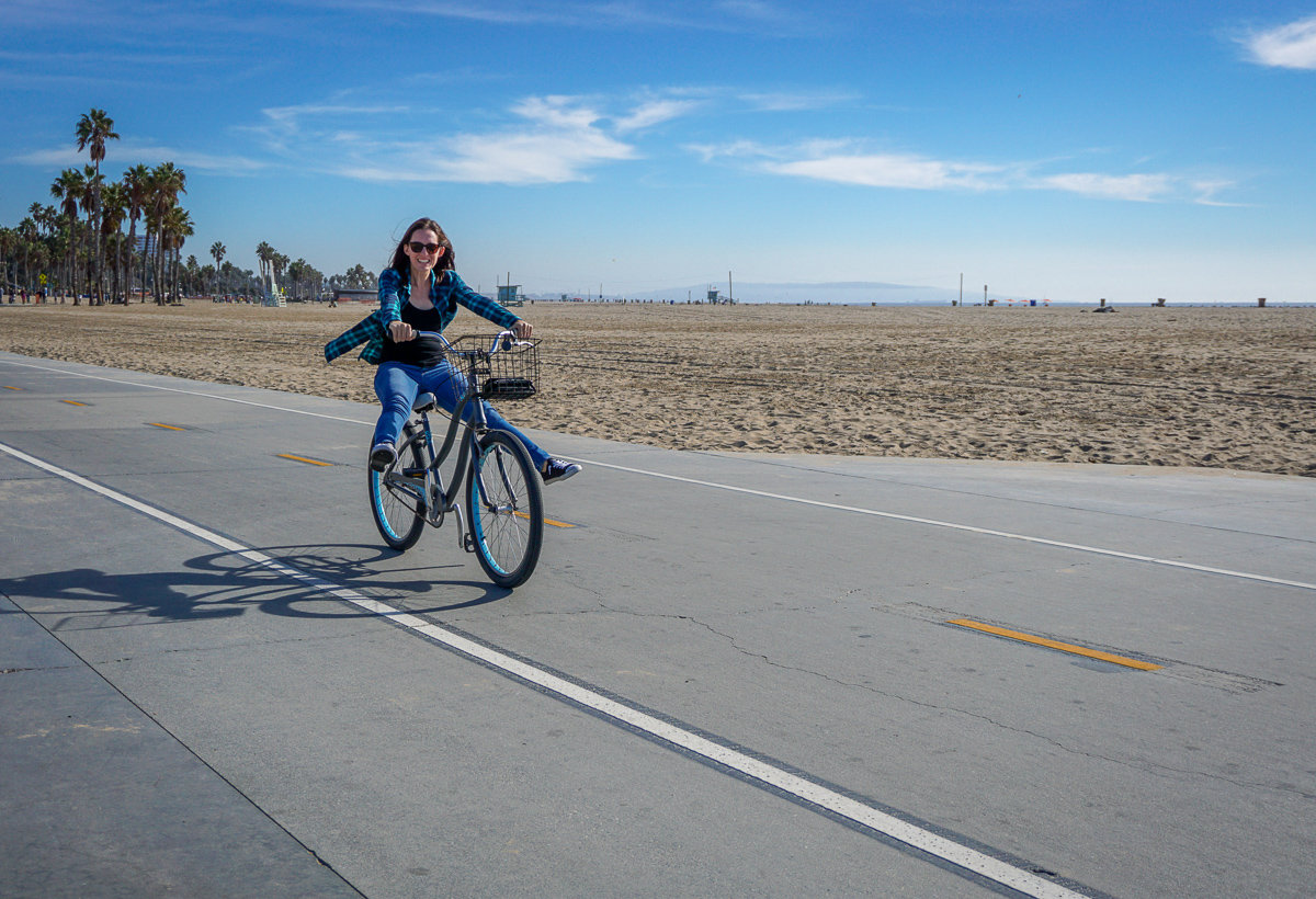 Bike ride on the Venice Beach Boardwalk