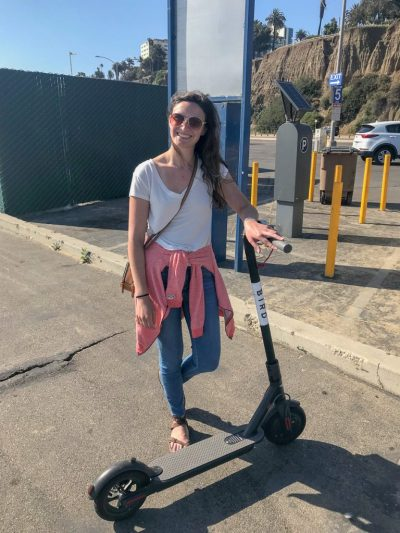 Riding the Bird electric scooters in Santa Monica