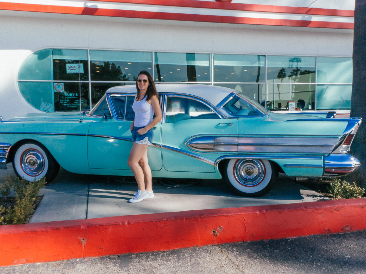 The classic cars at Ruby's Diner in Laguna Beach
