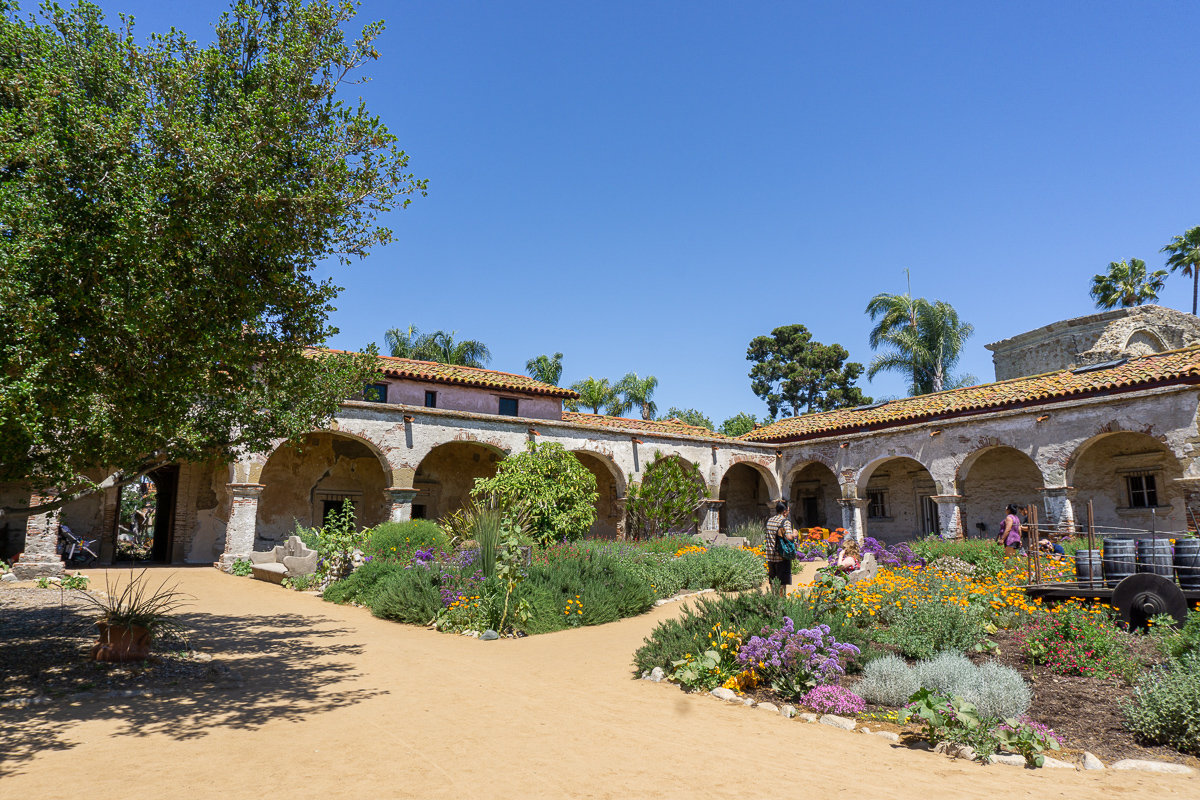 The courtyard and exterior building at the Mission San Juan Capistrano