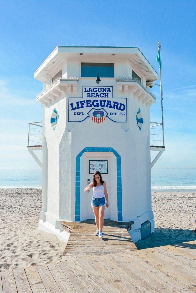 The historical Laguna Beach lifeguard tower can be found on Main Beach.
