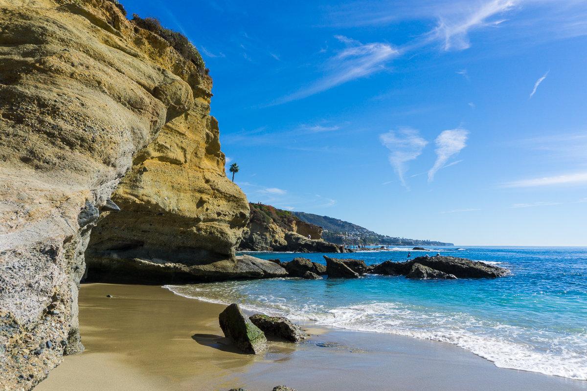 Treasure Island Beach has some pretty sea caves to explore.