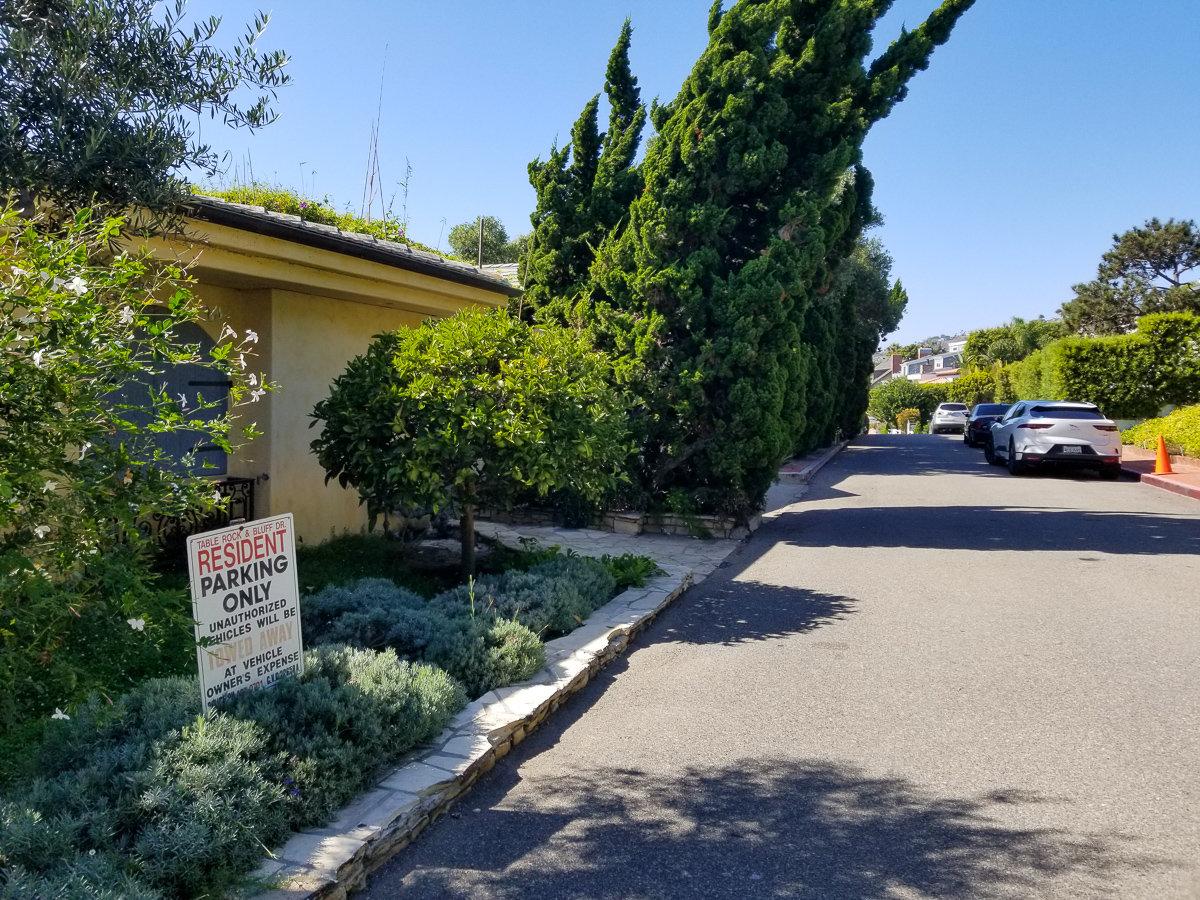 Residential parking in Laguna Beach, California