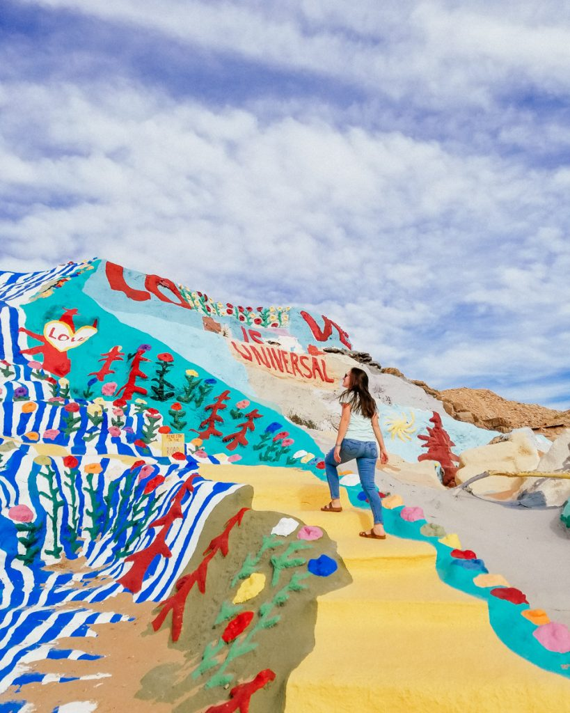 Climbing the colorful Salvation Mountain