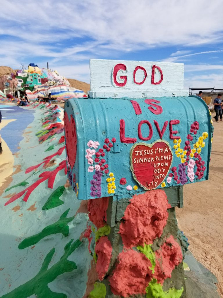 Painted mailbox at Salvation Mountain