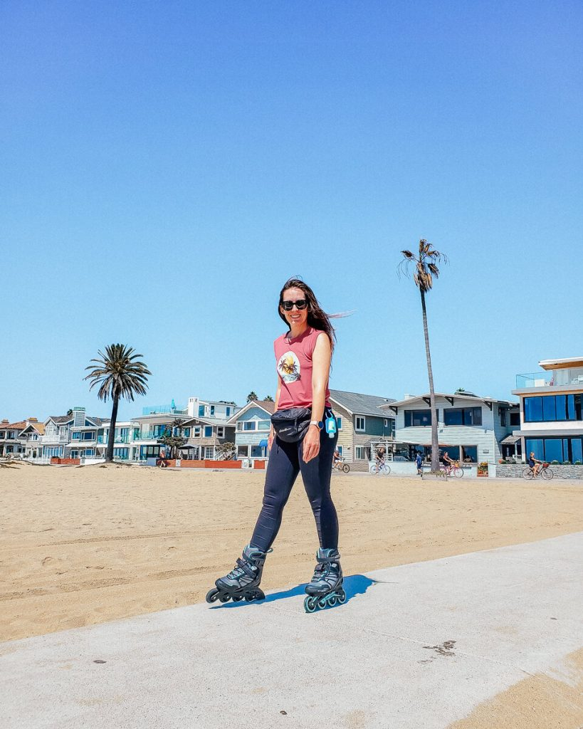 Rollerblading on Balboa Peninsula in Newport Beach