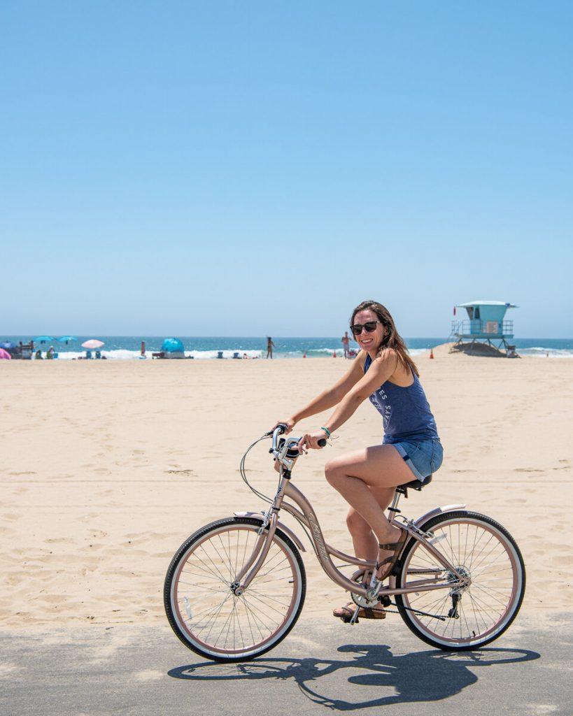 Riding a bike on the Huntington Beach bike path