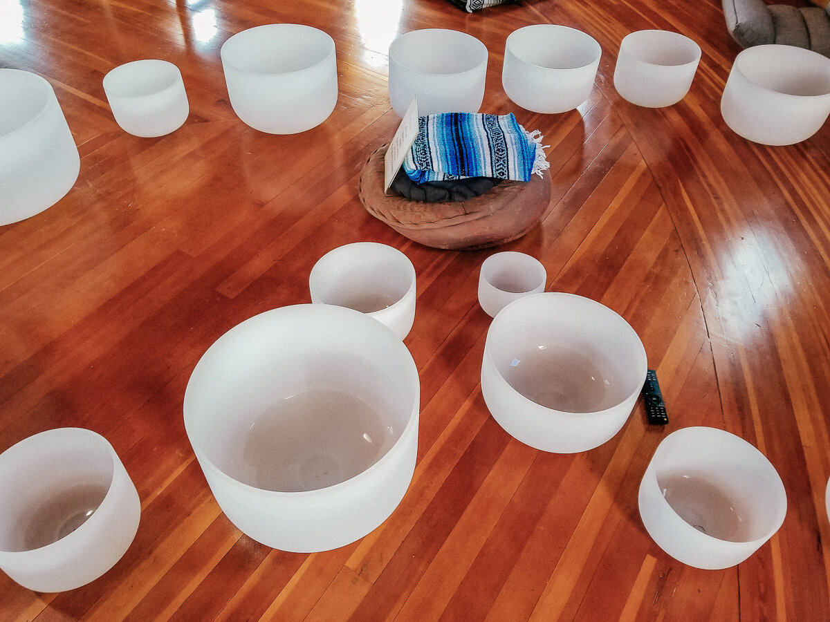 Crystal bowls setup for a sound bath