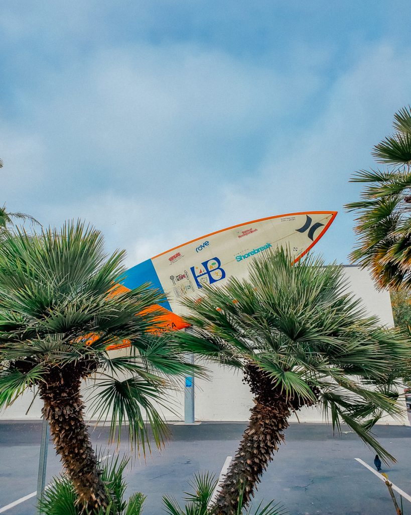 The World's Largest Surfboard on display at the International Surfing Museum