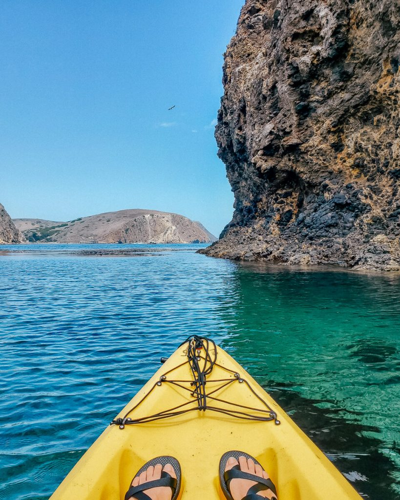 The clear waters while kayaking at Channel Islands