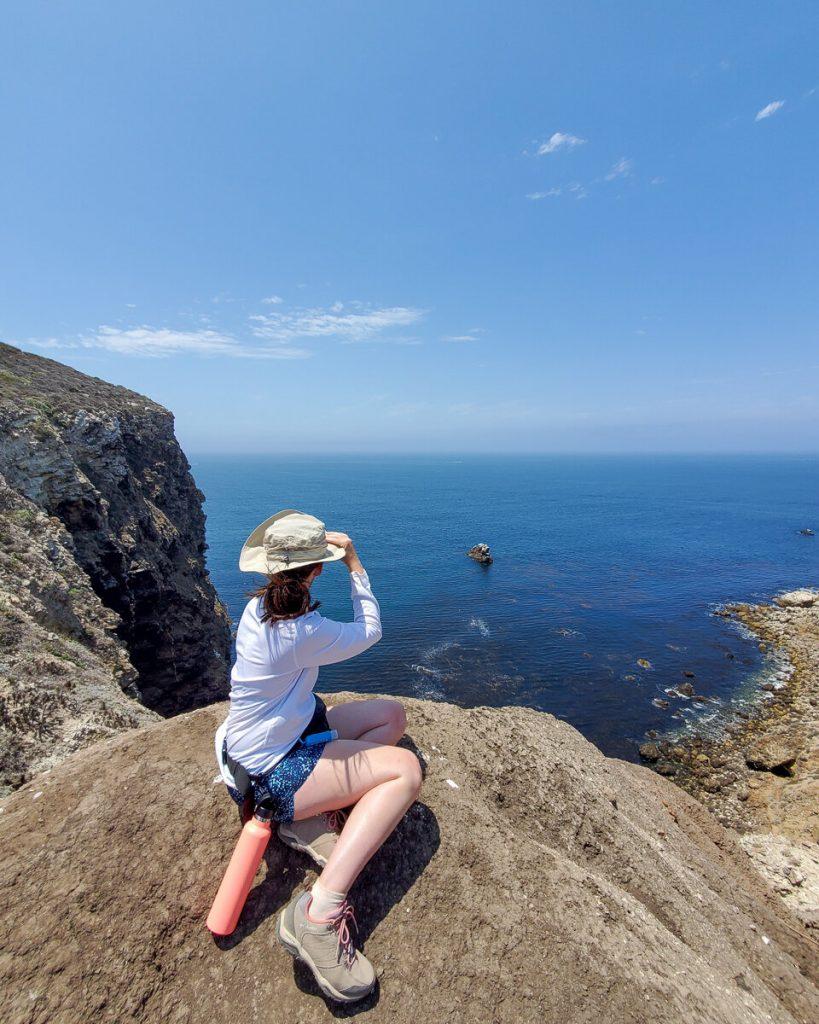 Overlooking a cliff while hiking on Santa Cruz Island