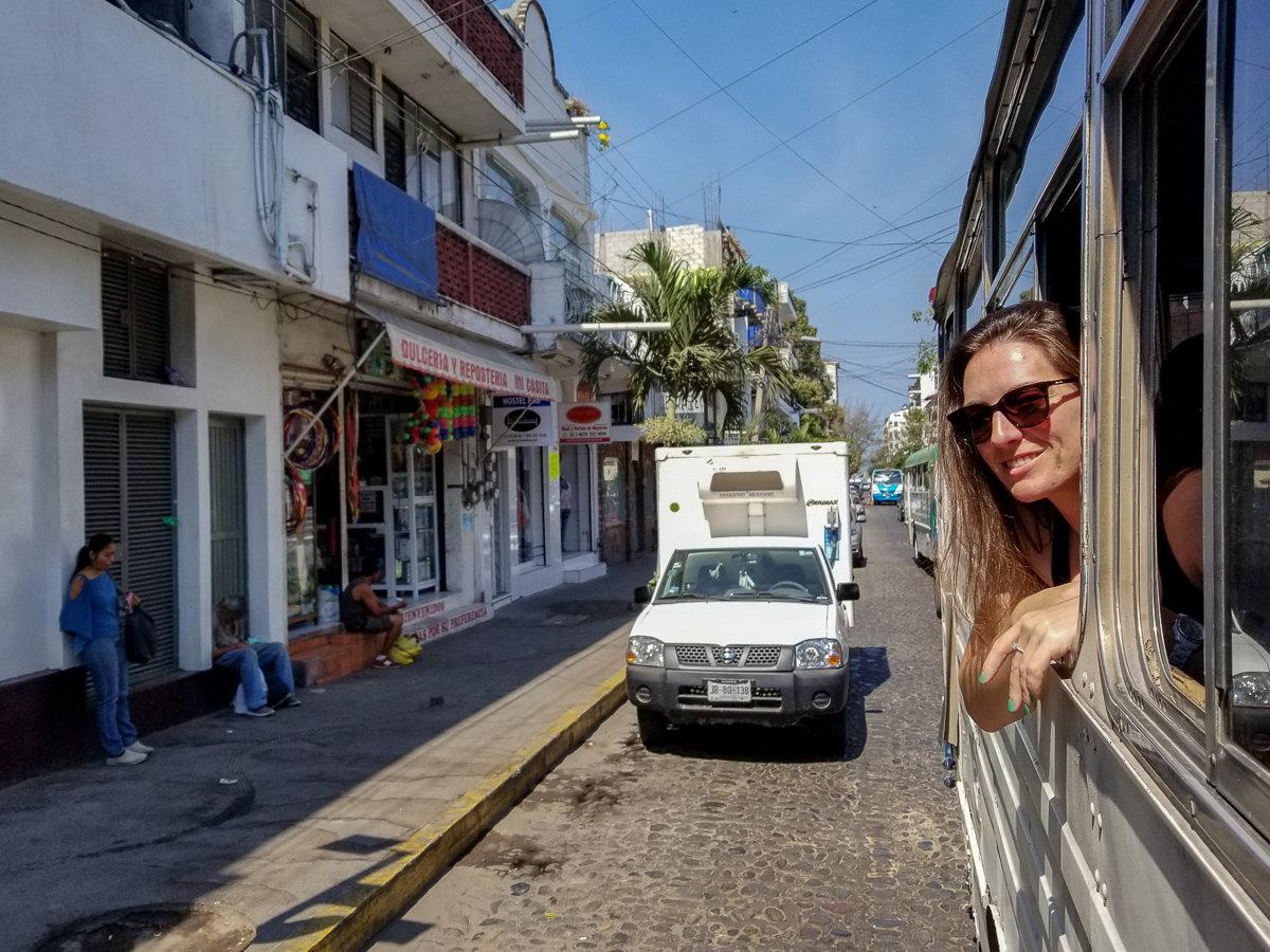 Using the bus to get around the city of Puerto Vallarta