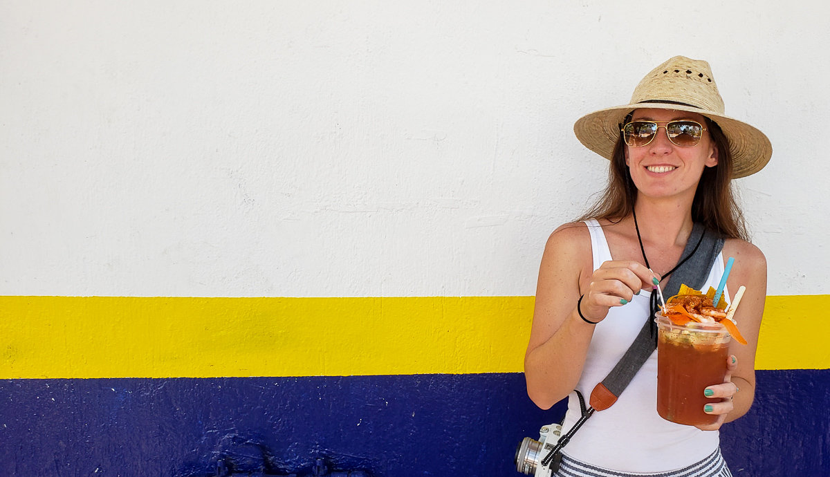 Enjoying a Michelada during my trip to Puerto Vallarta