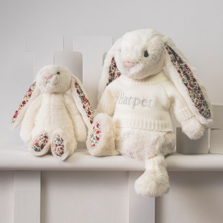 Personalised Jellycat cream blossom bunny soft toy