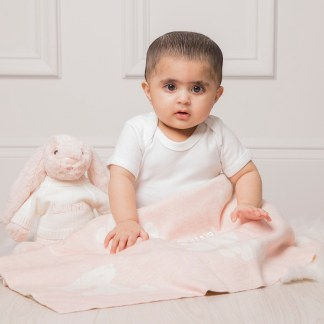 Personalised Jellycat bashful bunny pink baby blanket