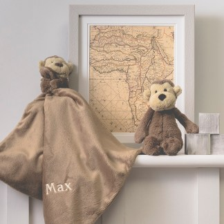 Personalised Jellycat bashful monkey comforter and soft toy gift set
