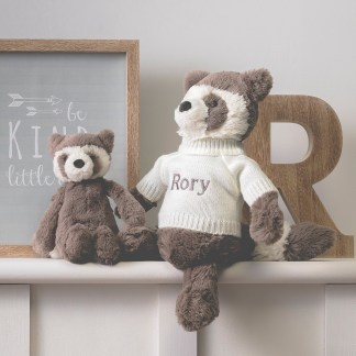Personalised Jellycat beige bashful raccoon soft toy
