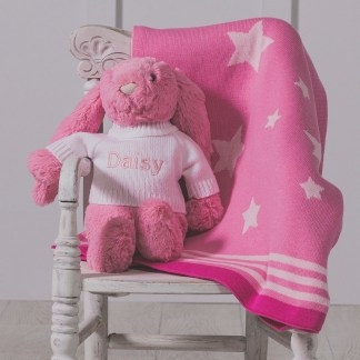 Personalised Jellycat pink bashful bunny and ziggle star baby blanket gift set