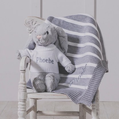 Personalised Jellycat grey bashful bunny and ziggle striped baby blanket gift set
