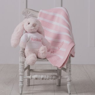Personalised Jellycat pink bashful bunny and ziggle striped baby blanket gift set