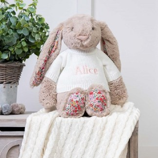 Personalised Jellycat Beige Blossom Bunny Large Soft Toy