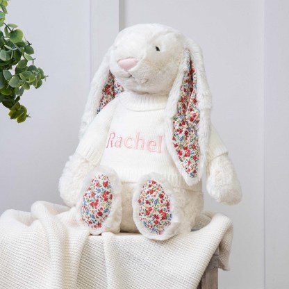 Personalised Jellycat Cream Blossom Bunny Large Soft Toy