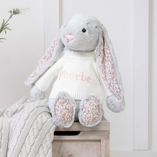 Personalised Jellycat Grey Blossom Bunny Large Soft Toy