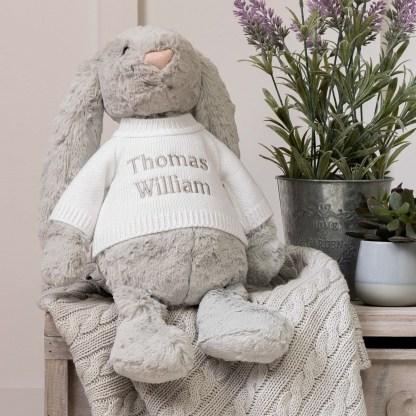 Personalised Jellycat Grey Bashful Bunny Large Soft Toy